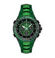 realistic watch clock chronograph green black vector image vector image