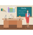 School Chemistry female teacher in audience class vector image vector image