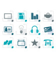 stylized office and business icons vector image vector image