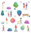 summer people outdoor activity in park icons vector image vector image