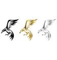 three color black gold silver line art logo vector image vector image