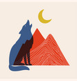 with red mountains blue howling wolf and yellow vector image vector image