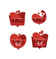 young wine fest red wine logo emblems labels vector image vector image