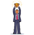 the winner businessman holding up winning trophy vector image