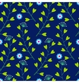 Blue pattern with lowers and Grass vector image