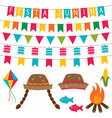 Festa junina decoration and photo booth props set vector image