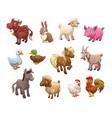 set of cute cartoon farm animals vector image