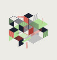 abstract colorful geometric isometric vintage vector image