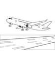 airplane landing coloring book vector image