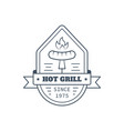 barbecue badge design line art vector image vector image