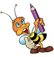 Bee Holding Pencil vector image vector image