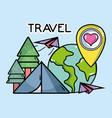 camping tent world plane destination pin tourist vector image