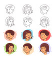 children face expressions in stroke and flat style vector image vector image