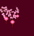 chinese new year sakura and purple lanterns vector image vector image