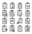 clipboard icons set on white background vector image vector image