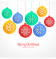 colorful hanging christmas balls background with vector image