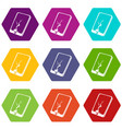 crack screen smartphone icons set 9 vector image