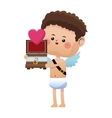 cute little cupid valentine day box gift heart vector image