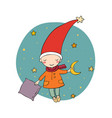 cute little gnome moon and pillow vector image vector image
