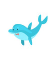 cute smiling dolphin cartoon sea animal character vector image vector image
