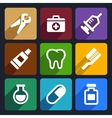 Dental flat icons set 9 vector image vector image