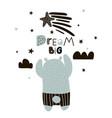 dream big lettering cute cartoon bear boy