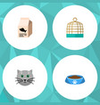flat icon animal set of fish nutrient kitty cat vector image