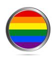 Gay flag metal button vector image
