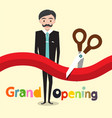 grand opening flat design cartoon with business