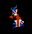 great britain flag in form map united kingdom vector image vector image