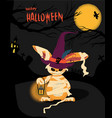halloween card with a monster rabbit holding a vector image