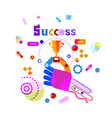 hand holding golden cup business success concept vector image vector image