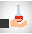 hand holding research container vector image vector image