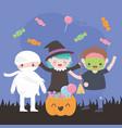 happy halloween costume characters zombie mummy vector image vector image
