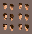 isometric set mens hairstyles hipster style vector image vector image