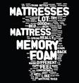 memory foam mattress text background word cloud vector image vector image