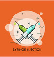 pair of crossed syringes and drops of colorful vector image