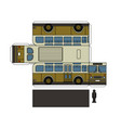 paper model of a classic bus vector image