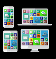 PC laptop tablet and cell phone vector image vector image