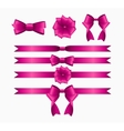 Pink Ribbon and Bow Set for Birthday and Christmas vector image vector image