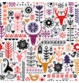 plants and deer in nordic style seamless pattern vector image