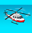 rescue helicopter pop art vector image vector image