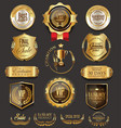 retro vintage golden badges collection vector image vector image