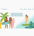 sea surfing surfers extreme sports landing page vector image