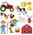 set farming cartoon on a white background vector image