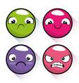 set of emoji emoticon cartoon vector image vector image