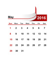 simple calendar 2016 year may month vector image vector image