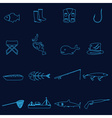 simple outline blue fishing icons set eps10 vector image