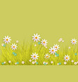 spring grass and flowers border on green vector image vector image