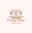 tailor sewing vintage mannequin fashion logo vector image